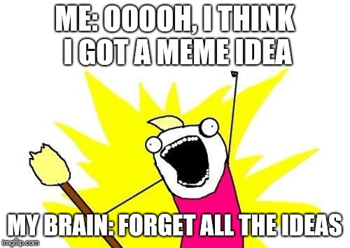 X All The Y Meme | ME: OOOOH, I THINK I GOT A MEME IDEA MY BRAIN: FORGET ALL THE IDEAS | image tagged in memes,x all the y | made w/ Imgflip meme maker