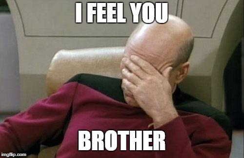 Captain Picard Facepalm Meme | I FEEL YOU BROTHER | image tagged in memes,captain picard facepalm | made w/ Imgflip meme maker