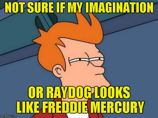 Futurama Fry Meme | NOT SURE IF MY IMAGINATION OR RAYDOG LOOKS LIKE FREDDIE MERCURY | image tagged in memes,futurama fry | made w/ Imgflip meme maker