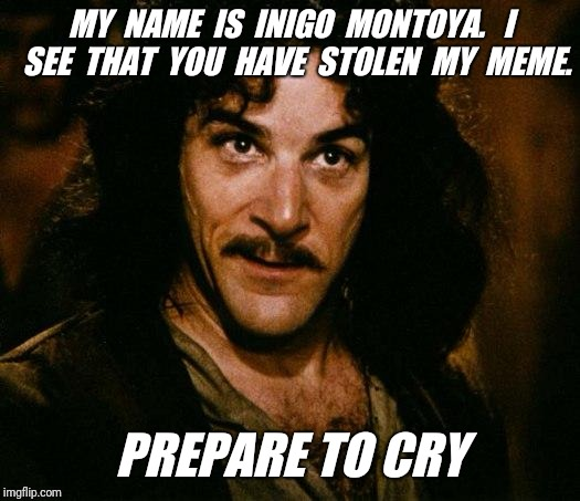 Inigo Montoya | MY  NAME  IS  INIGO  MONTOYA.   I  SEE  THAT  YOU  HAVE  STOLEN  MY  MEME. PREPARE TO CRY | image tagged in memes,inigo montoya,stolen memes,repost | made w/ Imgflip meme maker