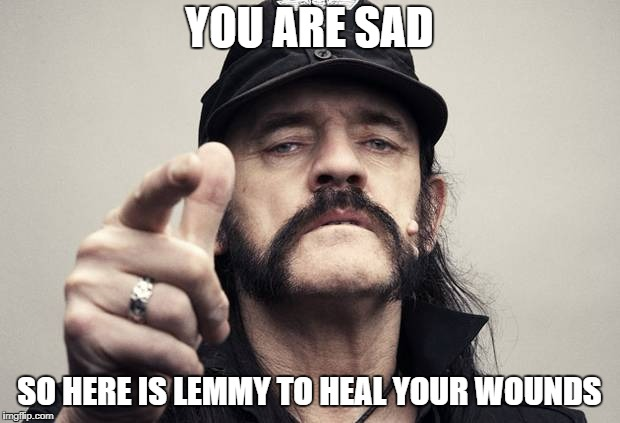 lemmy bday | YOU ARE SAD SO HERE IS LEMMY TO HEAL YOUR WOUNDS | image tagged in lemmy bday | made w/ Imgflip meme maker