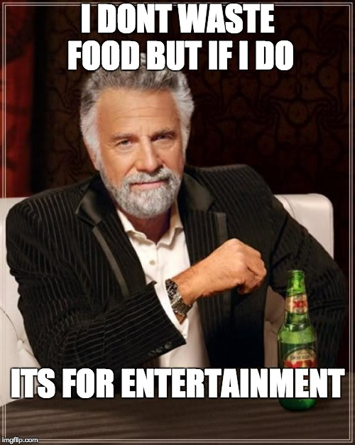 The Most Interesting Man In The World Meme | I DONT WASTE FOOD BUT IF I DO ITS FOR ENTERTAINMENT | image tagged in memes,the most interesting man in the world | made w/ Imgflip meme maker