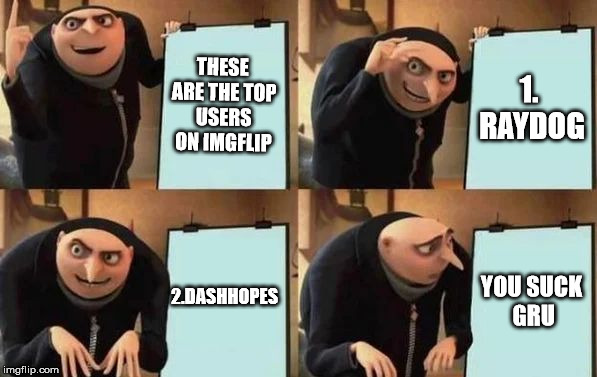 Gru's Plan | THESE ARE THE TOP USERS ON IMGFLIP 1. RAYDOG 2.DASHHOPES YOU SUCK GRU | image tagged in gru's plan | made w/ Imgflip meme maker