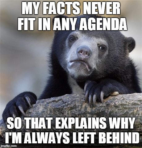 Confession Bear Meme | MY FACTS NEVER FIT IN ANY AGENDA SO THAT EXPLAINS WHY I'M ALWAYS LEFT BEHIND | image tagged in memes,confession bear | made w/ Imgflip meme maker