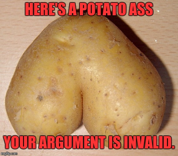 HERE'S A POTATO ASS YOUR ARGUMENT IS INVALID. | image tagged in heart | made w/ Imgflip meme maker