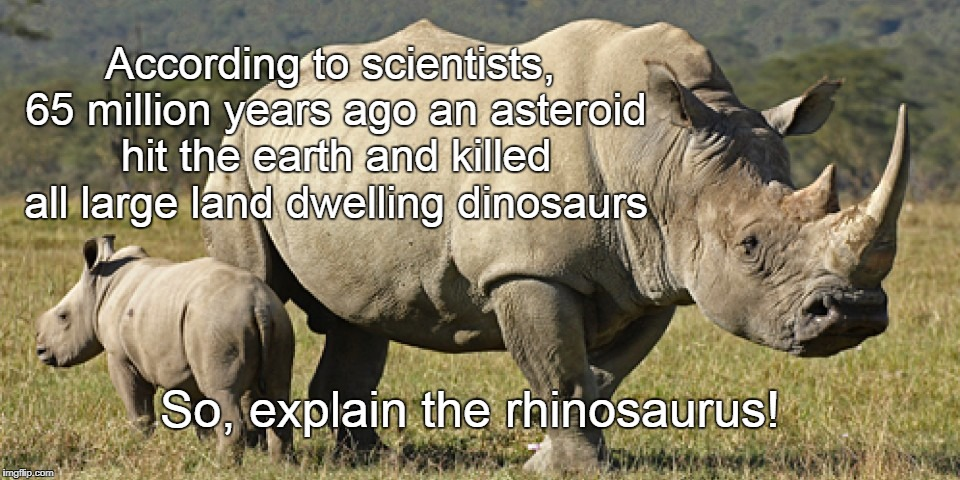 Rhinos | According to scientists, 65 million years ago an asteroid hit the earth and killed all large land dwelling dinosaurs So, explain the rhinosa | image tagged in flat earth,last dinosaur | made w/ Imgflip meme maker