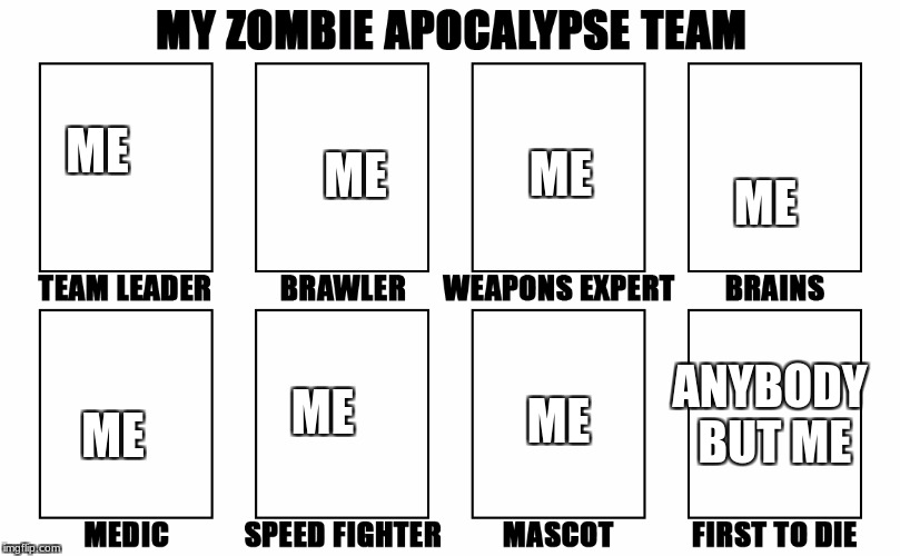 My Zombie Apocalypse Team v2, memes |  ME; ME; ME; ME; ME; ANYBODY BUT ME; ME; ME | image tagged in my zombie apocalypse team v2 memes | made w/ Imgflip meme maker