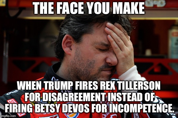 Why not fire Betsy DeVos instead |  THE FACE YOU MAKE; WHEN TRUMP FIRES REX TILLERSON FOR DISAGREEMENT INSTEAD OF FIRING BETSY DEVOS FOR INCOMPETENCE. | image tagged in tony stewart frustrated,the face you make,memes,betsy devos,trump,fired | made w/ Imgflip meme maker