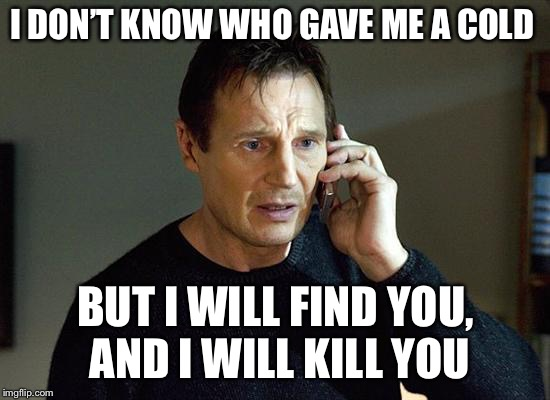 Liam Neeson Taken 2 Meme | I DON'T KNOW WHO GAVE ME A COLD BUT I WILL FIND YOU, AND I WILL KILL YOU | image tagged in memes,liam neeson taken 2,sick,cold | made w/ Imgflip meme maker