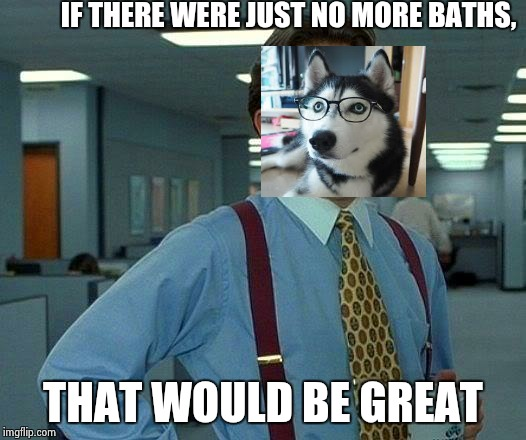 That Would Be Great Meme | IF THERE WERE JUST NO MORE BATHS, THAT WOULD BE GREAT | image tagged in memes,that would be great | made w/ Imgflip meme maker