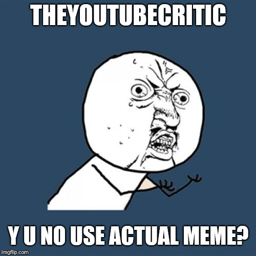 Y U No Meme | THEYOUTUBECRITIC Y U NO USE ACTUAL MEME? | image tagged in memes,y u no | made w/ Imgflip meme maker