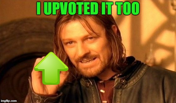 One Does Not Simply Meme | I UPVOTED IT TOO | image tagged in memes,one does not simply | made w/ Imgflip meme maker