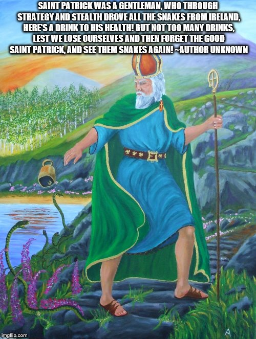 St.patrick | SAINT PATRICK WAS A GENTLEMAN, WHO THROUGH STRATEGY AND STEALTH DROVE ALL THE SNAKES FROM IRELAND, HERE'S A DRINK TO HIS HEALTH! BUT NOT TOO | image tagged in god,jesus,holyspirit,catholic,the bible | made w/ Imgflip meme maker