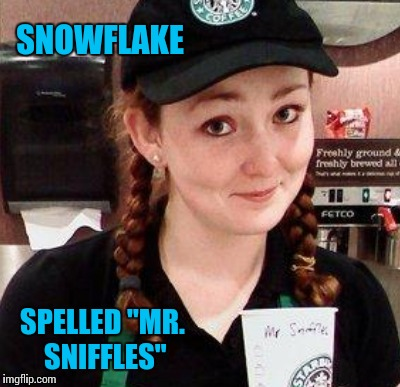 "SNOWFLAKE SPELLED ""MR. SNIFFLES"" 