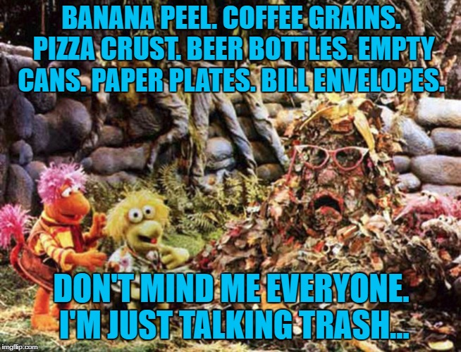Fragle Rock trash talking | BANANA PEEL. COFFEE GRAINS. PIZZA CRUST. BEER BOTTLES. EMPTY CANS. PAPER PLATES. BILL ENVELOPES. DON'T MIND ME EVERYONE. I'M JUST TALKING TR | image tagged in marjory trash heap | made w/ Imgflip meme maker
