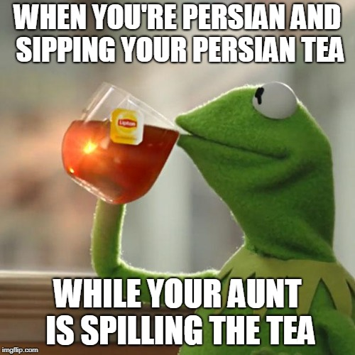 But Thats None Of My Business Meme | WHEN YOU'RE PERSIAN AND SIPPING YOUR PERSIAN TEA WHILE YOUR AUNT IS SPILLING THE TEA | image tagged in memes,but thats none of my business,kermit the frog | made w/ Imgflip meme maker