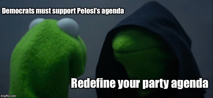 The millennial democrat | Democrats must support Pelosi's agenda Redefine your party agenda | image tagged in memes,evil kermit,democrats,pelosi,redefine party,millenials | made w/ Imgflip meme maker