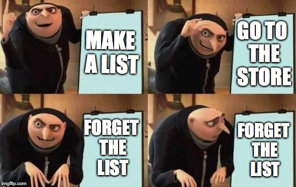 Gru's Plan | MAKE A LIST GO TO THE STORE FORGET THE LIST FORGET THE LIST | image tagged in gru's plan | made w/ Imgflip meme maker