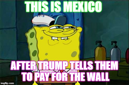 Dont You Squidward Meme | THIS IS MEXICO AFTER TRUMP TELLS THEM TO PAY FOR THE WALL | image tagged in memes,dont you squidward | made w/ Imgflip meme maker