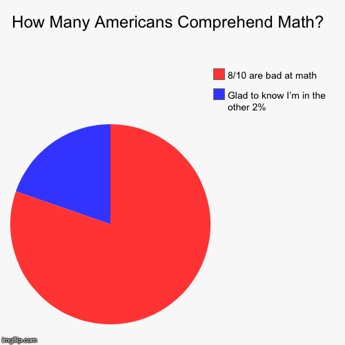 How Many Americans Comprehend Math?  | Glad to know I'm in the other 2%, 8/10 are bad at math | image tagged in funny,pie charts | made w/ Imgflip pie chart maker