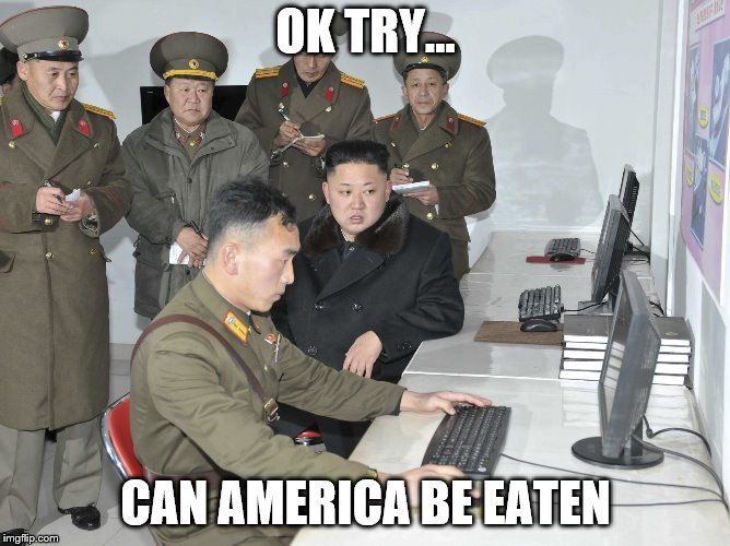 OK TRY... CAN AMERICA BE EATEN | image tagged in kim jon un computer | made w/ Imgflip meme maker