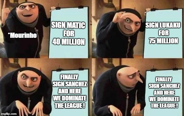Gru's Plan | SIGN MATIC FOR 40 MILLION SIGN LUKAKU FOR 75 MILLION FINALLY SIGN SANCHEZ AND HERE WE DOMINATE THE LEAGUE ! FINALLY SIGN SANCHEZ AND HERE WE | image tagged in gru's plan | made w/ Imgflip meme maker