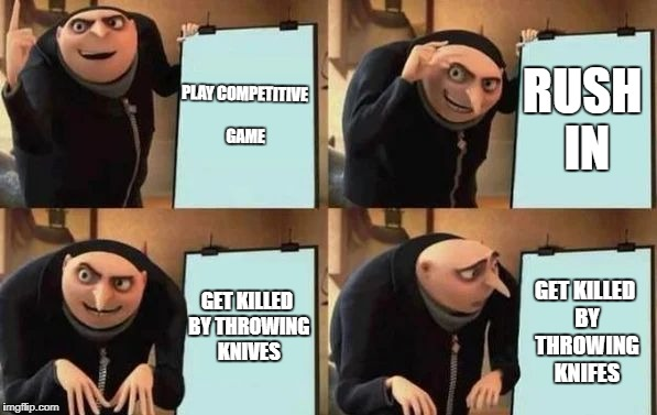 COD :\ | PLAY COMPETITIVE GAME RUSH IN GET KILLED BY THROWING KNIVES GET KILLED BY THROWING KNIFES | image tagged in gru's plan,gaming | made w/ Imgflip meme maker