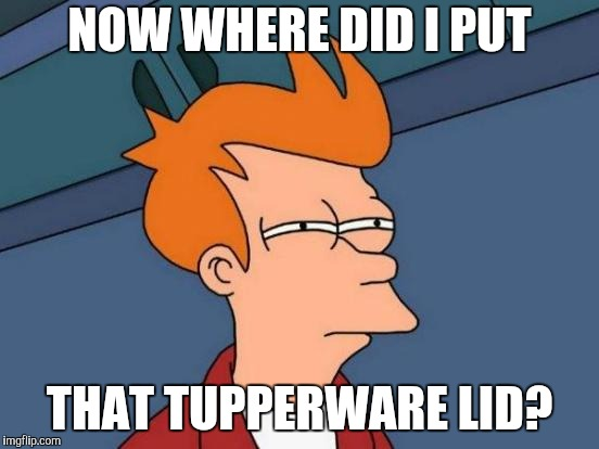 Futurama Fry Meme | NOW WHERE DID I PUT THAT TUPPERWARE LID? | image tagged in memes,futurama fry | made w/ Imgflip meme maker
