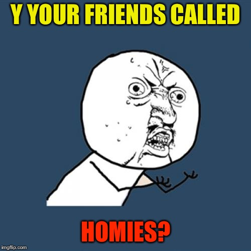 Y U No Meme | Y YOUR FRIENDS CALLED HOMIES? | image tagged in memes,y u no | made w/ Imgflip meme maker
