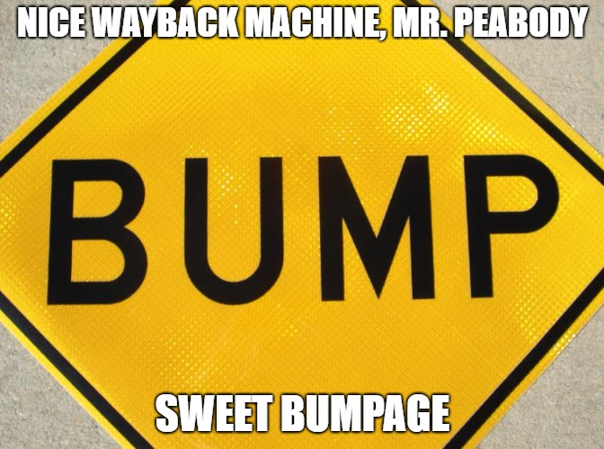 Bump | NICE WAYBACK MACHINE, MR. PEABODY SWEET BUMPAGE | image tagged in bump | made w/ Imgflip meme maker
