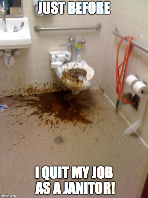 Who wants to clean that up? | JUST BEFORE I QUIT MY JOB AS A JANITOR! | image tagged in shit,memes,janitor,nsfw,bathroom | made w/ Imgflip meme maker