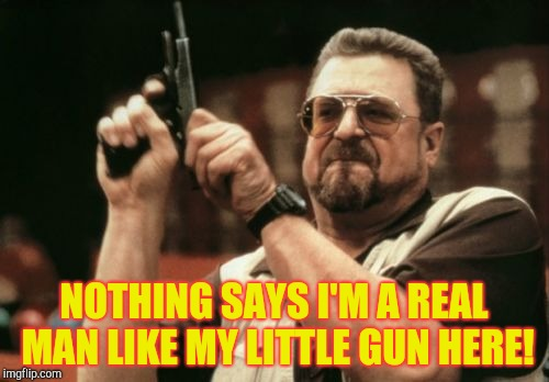 Am I The Only One Around Here Meme | NOTHING SAYS I'M A REAL MAN LIKE MY LITTLE GUN HERE! | image tagged in memes,am i the only one around here | made w/ Imgflip meme maker