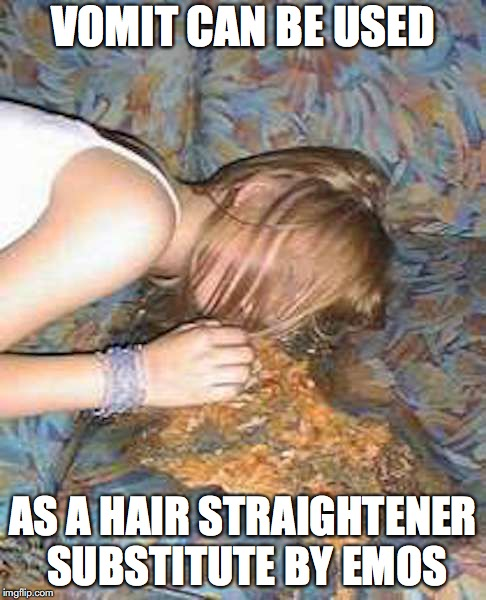 Vomit | VOMIT CAN BE USED AS A HAIR STRAIGHTENER SUBSTITUTE BY MEMOS | image tagged in vomit,memes | made w/ Imgflip meme maker