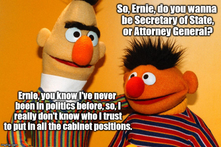 Trump . . . . I mean . . . Bert for Prez! | Ernie, you know I've never been in politics before, so, I really don't know who I trust to put in all the cabinet positions. So, Ernie, do y | image tagged in trump meme,trump cabinet | made w/ Imgflip meme maker