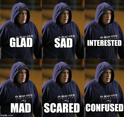 Bill Belichick Emotions | GLAD MAD SAD SCARED INTERESTED CONFUSED | image tagged in patriots,bill belichick,emotions,memes,football,hoodie | made w/ Imgflip meme maker