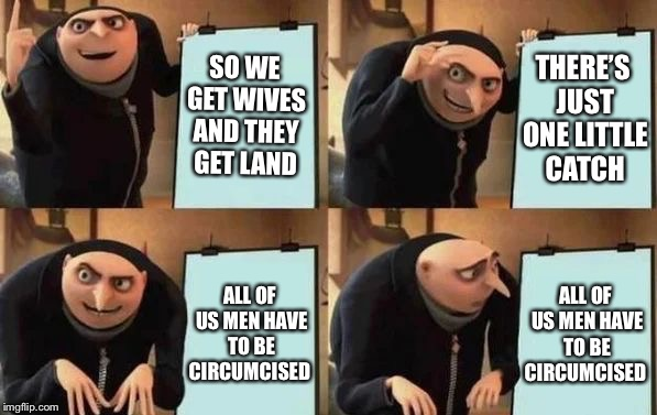 Gru's Plan | SO WE GET WIVES AND THEY GET LAND THERE'S JUST ONE LITTLE CATCH ALL OF US MEN HAVE TO BE CIRCUMCISED ALL OF US MEN HAVE TO BE CIRCUMCISED | image tagged in gru's plan | made w/ Imgflip meme maker