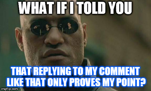 Matrix Morpheus Meme | WHAT IF I TOLD YOU THAT REPLYING TO MY COMMENT LIKE THAT ONLY PROVES MY POINT? | image tagged in memes,matrix morpheus | made w/ Imgflip meme maker