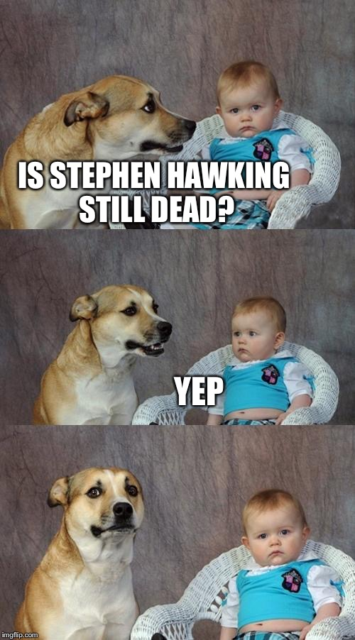 Dad Joke Dog Meme | IS STEPHEN HAWKING STILL DEAD? YEP | image tagged in memes,dad joke dog | made w/ Imgflip meme maker