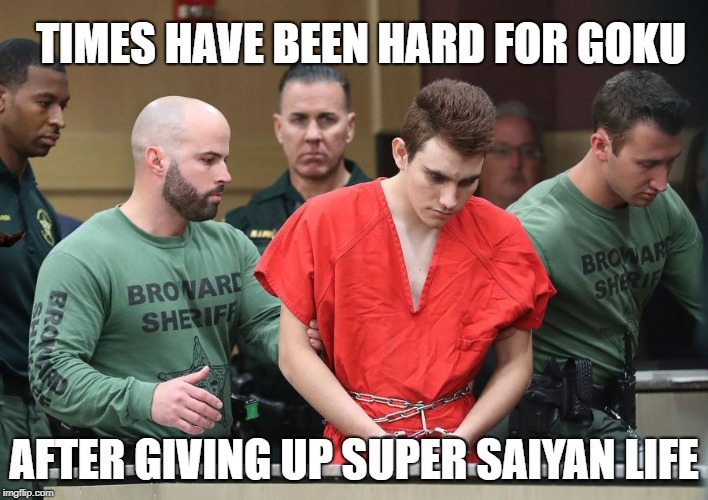Nikolas Cruz is a life action Goku |  TIMES HAVE BEEN HARD FOR GOKU; AFTER GIVING UP SUPER SAIYAN LIFE | image tagged in nikolas cruz,goku,super saiyan,doppelganger,dragon ball,florida shooting | made w/ Imgflip meme maker