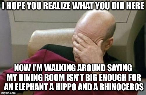 Captain Picard Facepalm Meme | I HOPE YOU REALIZE WHAT YOU DID HERE NOW I'M WALKING AROUND SAYING MY DINING ROOM ISN'T BIG ENOUGH FOR AN ELEPHANT A HIPPO AND A RHINOCEROS | image tagged in memes,captain picard facepalm | made w/ Imgflip meme maker