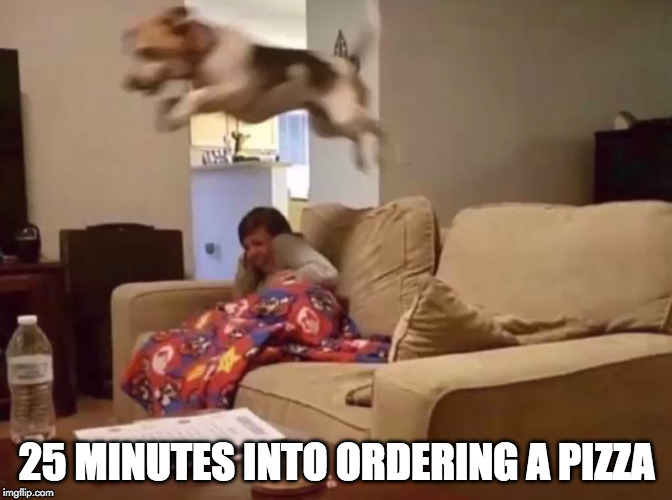 Finally!! | 25 MINUTES INTO ORDERING A PIZZA | image tagged in pizza,pizza delivery,dog,dominos | made w/ Imgflip meme maker