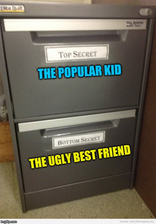 Even paperwork can't escape the cliques. | THE POPULAR KID THE UGLY BEST FRIEND | image tagged in memes,top secret,bottom secret,popularity | made w/ Imgflip meme maker