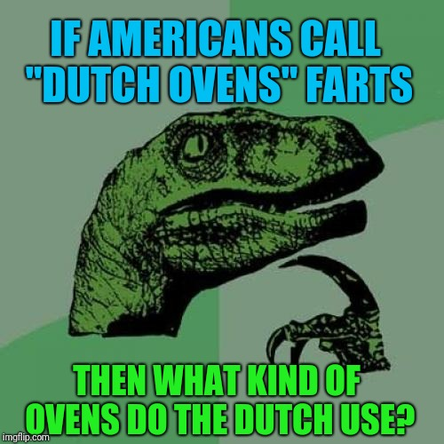 "Philosoraptor | IF AMERICANS CALL ""DUTCH OVENS"" FARTS THEN WHAT KIND OF OVENS DO THE DUTCH USE? 