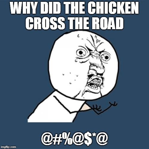 Y U No Meme | WHY DID THE CHICKEN CROSS THE ROAD @#%@$*@ | image tagged in memes,y u no | made w/ Imgflip meme maker