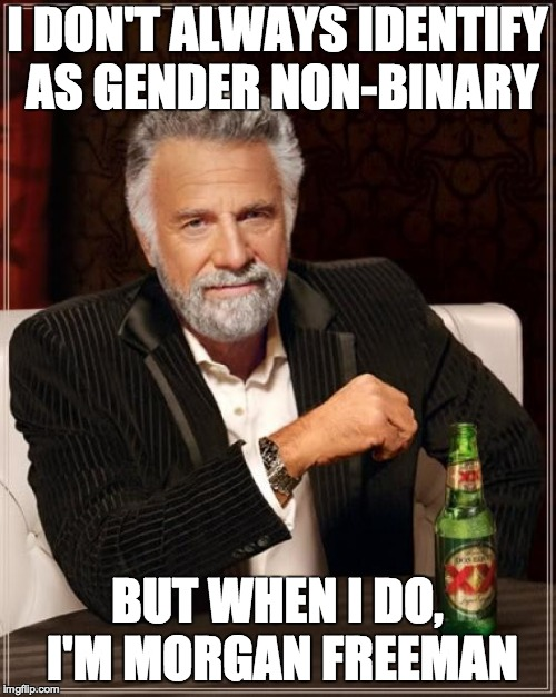 The Most Interesting Man In The World Meme | I DON'T ALWAYS IDENTIFY AS GENDER NON-BINARY BUT WHEN I DO, I'M MORGAN FREEMAN | image tagged in memes,the most interesting man in the world | made w/ Imgflip meme maker