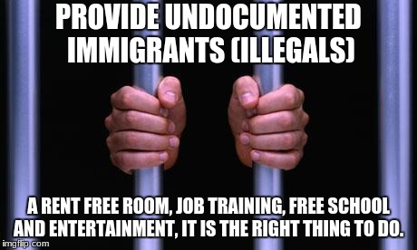 Prison Bars | PROVIDE UNDOCUMENTED IMMIGRANTS (ILLEGALS) A RENT FREE ROOM, JOB TRAINING, FREE SCHOOL AND ENTERTAINMENT, IT IS THE RIGHT THING TO DO. | image tagged in prison bars | made w/ Imgflip meme maker