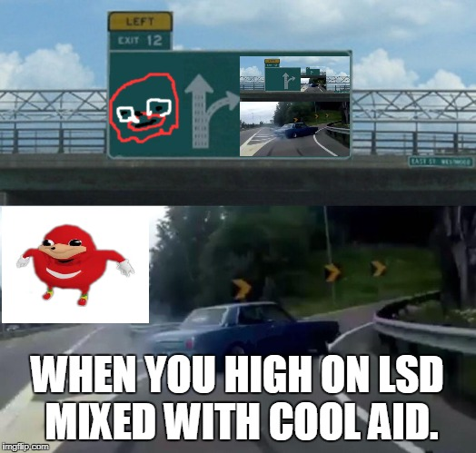 Left Exit 12 Off Ramp Meme | WHEN YOU HIGH ON LSD MIXED WITH COOL AID. | image tagged in memes,left exit 12 off ramp | made w/ Imgflip meme maker