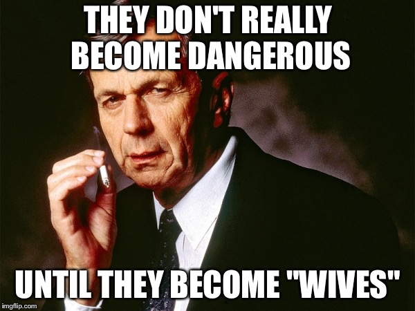 "Cigarette Smoking Man | THEY DON'T REALLY BECOME DANGEROUS UNTIL THEY BECOME ""WIVES"" 