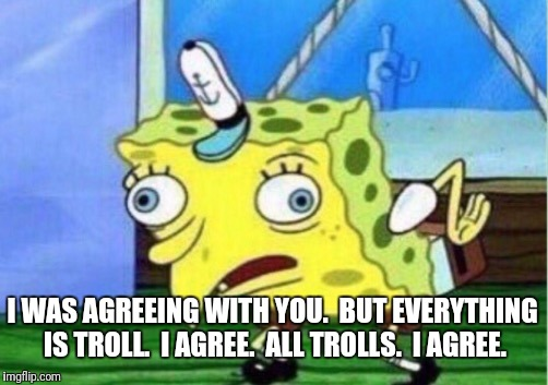 Mocking Spongebob Meme | I WAS AGREEING WITH YOU.  BUT EVERYTHING IS TROLL.  I AGREE.  ALL TROLLS.  I AGREE. | image tagged in memes,mocking spongebob | made w/ Imgflip meme maker