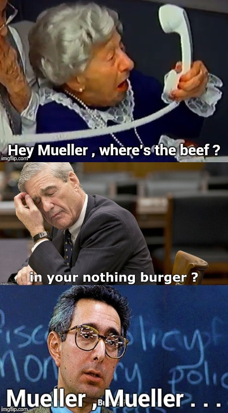 A voice from the past | image tagged in robert mueller,nothing burger,buns | made w/ Imgflip meme maker